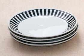 NOVAノヴァ25cm大皿1枚ボーダー白と黒のプレートストライプ日本製食器美濃焼おしゃれカフェ風おうちカフェ