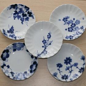 四季彩花取り皿5柄セット15cm中皿和食器プレート日本製美濃焼オシャレぶどうさくらうめつばきコスモス