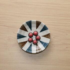 呉須と錆5柄セット豆皿10cm小皿和食器刷毛十草やり十草丸紋つなぎうず紋末広5枚セット薬味皿醤油皿プレート日本製美濃焼カフェ風おうちカフェ