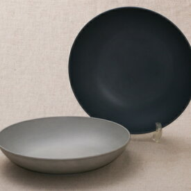 丸深皿L 24cm SEE グレー/ネイビー 樹脂製 食洗機対応 電子レンジ使用可 パスタプレート カレー皿 レトロカラー 日本製 食器 おしゃれ カフェ風 おうちカフェ