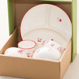 お食い初め 子ども食器5点セット アクティブあにまる 日本製 送料無料出産祝い、誕生祝い、入園祝いに山中漆器 子供食器セット 離乳食 樹脂製