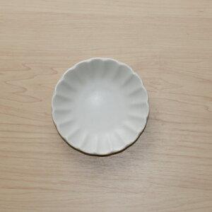 色釉5色 白マット 豆皿 10cm小皿 和食器薬味皿 醤油皿 漬物皿プレート 菊形3寸皿 ホワイト