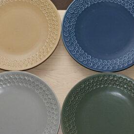 フラワースタンプ 大皿 25.5cm ベージュ/グリーン/ネイビー/グレー 日本製 食器 ディナープレート フルール