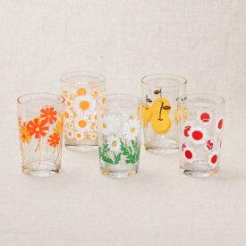 アデリアレトロ グラス 5個セット 中コップ8 送料無料 可愛い花柄 5柄 ガラスタンブラー 箱入り 日本製 カフェ風 ガラス食器 アリス 野ばな 花まわし 花ざかり 梨 おうちカフェ コップ ギフトセット