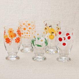 アデリアレトロ 台付きグラス5個セット 可愛い花柄 5柄 ガラスタンブラー パフェグラス クリームソーダ 箱入り 日本製 カフェ風 ガラス食器 アリス 野ばな 花まわし 花ざかり 梨 おうちカフェ コップ ギフトセット