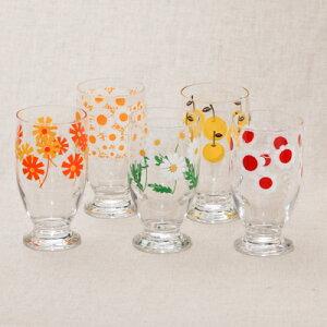 アデリアレトロ 台付きグラス5個セット 可愛い花柄 5柄 ガラスタンブラー パフェグラス クリームソーダ 箱入り 日本製 カフェ風 ガラス食器 アリス 野ばな 花まわし 花ざかり 梨 おうちカ
