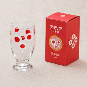 アデリアレトロ台付きグラス可愛い花柄5柄ガラスタンブラーパフェグラス日本製カフェ風ガラス食器アリス野ばな花まわし花ざかり梨