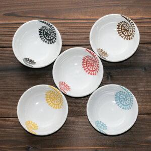 たこ唐草 5色 豆鉢 小鉢 5個セット 送料無料 赤/青/黄/黒/茶 10cm 3.3鉢 おかず 漬物 日本製 食器セット 美濃焼