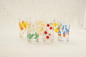 アデリアレトロ グラス 中コップ8 可愛い花柄 6柄 ガラスタンブラー 日本製 カフェ風 ガラス食器 アリス 野ばな 花まわし 花ざかり 梨 風船 おうちカフェコップ