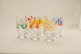 アデリアレトログラス台付きグラス可愛い花柄ガラスタンブラー日本製カフェ風ガラス食器アリス野ばな花まわし花ざかり梨