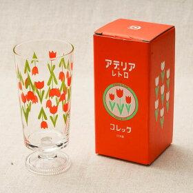 アデリアレトロ脚付きグラ選べるス3個セット可愛い花柄ガラスタンブラー