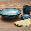 窯変紺 ざるそばセット 二人分 そば皿 そば猪口 薬味皿 竹すのこ 各2個 日本製 和食器セット 箱無 美濃焼 おしゃれ
