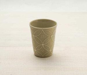 フリーカップ いっちん 七宝つなぎ ベージュ 日本製 湯呑み 和食器 かわいい 可愛い おしゃれ カフェ風 おうちカフェ 美濃焼