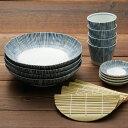 染十草 ざるそばセット 四人分 送料無料 そば皿 そば猪口 薬味皿 竹すのこ 各4個 日本製 和食器セット 美濃焼