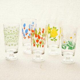 アデリアレトロ脚付きグラス選べる3個セット可愛い花柄ガラスタンブラー