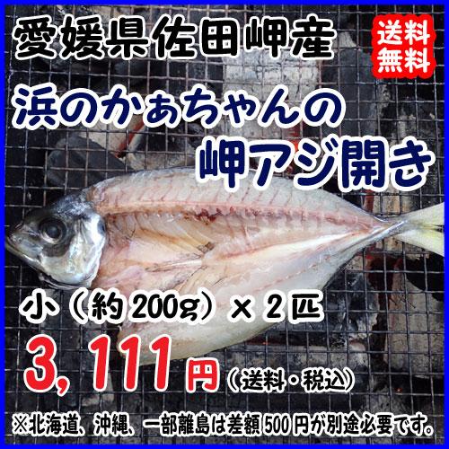 愛媛 佐田岬産 天然一本釣り 【 浜のかぁちゃんの 岬アジ開き 】小型(約200gx2匹) 冷凍