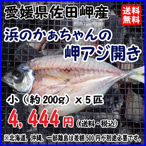 愛媛 佐田岬産 天然一本釣り 【 浜のかぁちゃんの 岬アジ開き 】小型(約200gx5匹) 冷凍
