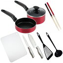 一人暮らし 料理道具 10点セット[料理道具セット 調理器具 鍋 フライパン 包丁 まな板]