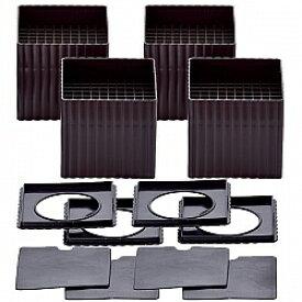 ハイヒールプラス S(スクエア) チョコレートブラウン 4個組(2個組×2セット)[テーブル ベッド こたつ 高さ調整 継ぎ脚]