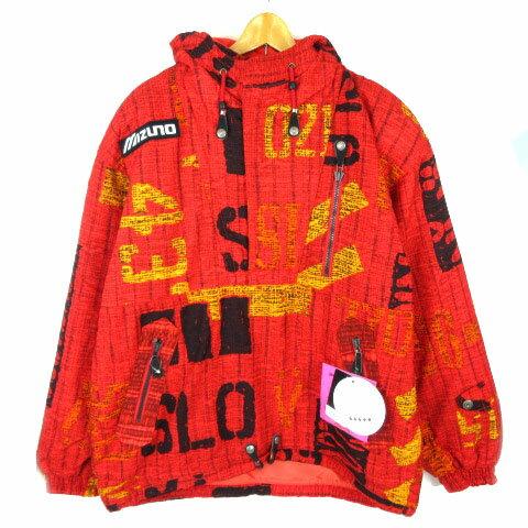 ミズノ MIZUNO ジャケット ブレスサーモジャケット スノボウェア スキーウェア 総柄 フード O レッド ※Y メンズ 【中古】【ベクトル 古着】 181203 ブランド古着ベクトルプレミアム店