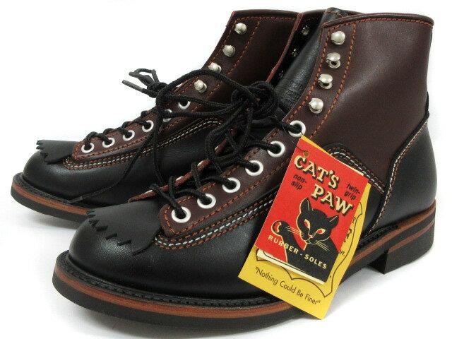 未使用品 ロンウルフ LONE WOLF ブーツ CAT'S PAW SOLE CARPENTER F01615 キャッツポウソール カーペンター ブラック ブラウン 8.5 メンズ 【中古】【ベクトル 古着】 180918 ブランド古着ベクトルプレミアム店
