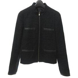 【中古】セオリー theory スタンドカラー ツイード ジャケット コート ラメ レザー混 黒 ブラック 0 XS 0419 レディース 【ベクトル 古着】 200419 ベクトルプレミアム店