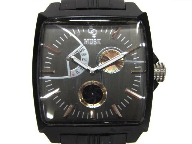 ムスク musk MA-2164 スクエア型 クォーツ 腕時計 黒文字盤 アルミ製 ブラック 黒 ■180531NM-9271B メンズ 【中古】【ベクトル 古着】 180602 ブランド古着ベクトルプレミアム店