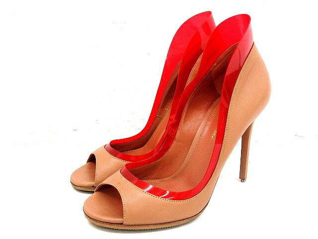 ジャンヴィトロッシ Gianvito Rossi ハイヒール パンプス オープントゥ レザー ラバー PVC シューズ ベージュ 赤 サイズ 37 イタリア製 靴 くつ IBS レディース 【中古】【ベクトル 古着】 180109 ブランド古着ベクトルプレミアム店