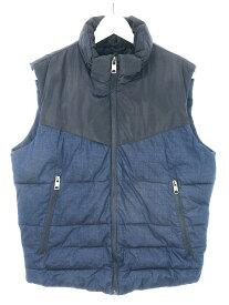 【中古】ザラ ZARA 中綿 ベスト ジャケット 異素材 切替 M 紺 ネイビー アウター メンズ 【ベクトル 古着】 200114 ベクトル