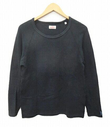 ハリウッドランチマーケット HOLLYWOOD RANCH MARKET Tシャツ 長袖 ストレッチ ロゴ刺繍 コットン 2 M 黒 ブラック C76651 メンズ 【中古】【ベクトル 古着】 170827 ブランド古着ベクトルプレミアム店