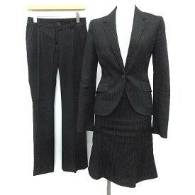 【中古】 アンタイトル UNTITLED スーツ セットアップ 3点セット ジャケット パンツ スカート 1 黒 ブラック /KH レディース 【ベクトル 古着】 190427