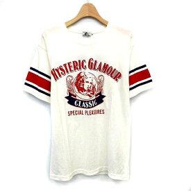 【中古】未使用品 ヒステリックグラマー HYSTERIC GLAMOUR 17SS Tシャツ PLEASURES プリント 半袖 XS 白 赤 ネイビー /☆G メンズ 【ベクトル 古着】 190914 ベクトルプレミアム店