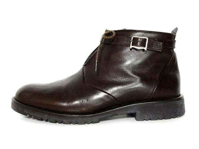 マックスマーラ MAX MARA ブーツ ショート レザー 紐靴 革 ベルテッド 茶 37.5 イタリア製 レディース 【中古】【ベクトル 古着】 171205 ブランド古着ベクトルプレミアム店