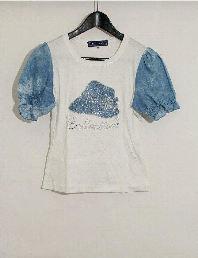 エムズグレイシー M'S GRACY Tシャツ カットソー 白 ホワイト 青 S トップス 半袖 ラインストーン 装飾 ラウンドネック 38 リヨセル コットン 綿 切り替え レディース 【中古】【ベクトル 古着】 ブランド古着ベクトルプレミアム店