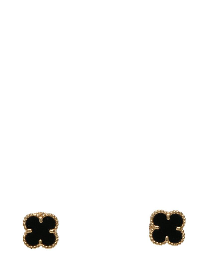 ヴァンクリーフ&アーペル Van Cleef & Arpels ピアス スタッドピアス スウィート アルハンブラ イエローゴールド 黒 アクセサリー K18YG オニキス VCARA44900 ケース 証明書付き レディース 【中古】【ベクトル 古着】 ブランド古着ベクトルプレミアム店