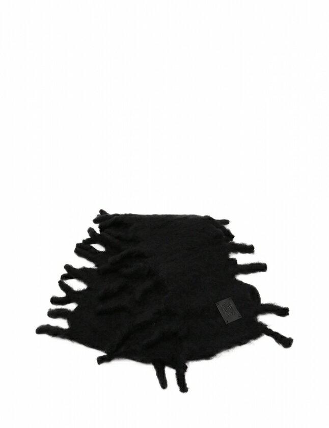 ロエベ LOEWE マフラー 黒 小物 無地 モヘヤ ウール レディース 【中古】【ベクトル 古着】 ブランド古着ベクトルプレミアム店