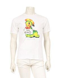 【中古】アンダーカバー UNDERCOVER カットソー Tシャツ 白 黄 緑 2 トップス 半袖 プリント コットン メンズ 【ベクトル 古着】 ベクトルプレミアム店