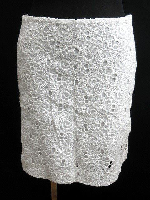 ブルックスブラザーズ BROOKS BROTHERS スカート ミニ レース 刺繍 パンチング 白 ホワイト 2 春夏 レディース 【ベクトル 古着】【中古】 160826