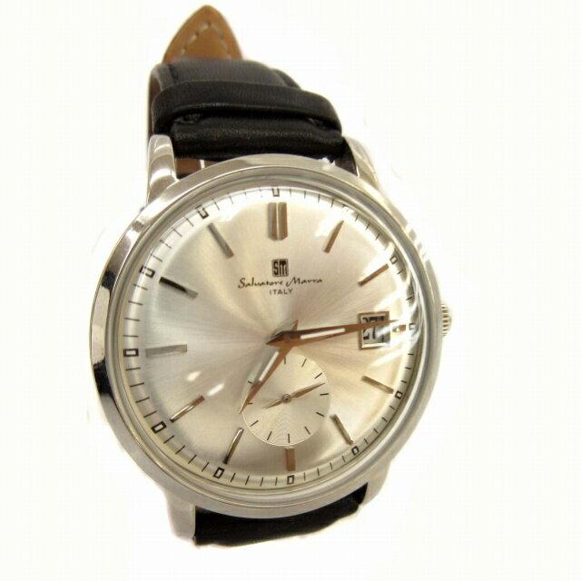 サルバトーレマーラ Salvatore Marra 腕時計 スモールセコンド SM-16114 レザー 黒 シルバー ブラック 0906 メンズ 【中古】【ベクトル 古着】 180906 ブランド古着ベクトルプレミアム店