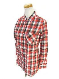 【中古】ノーリーズ Nolley's PINK カジュアル シャツ 長袖 チェック 柄 赤 白 レッド ホワイト size36 【ベクトル 古着】 210514