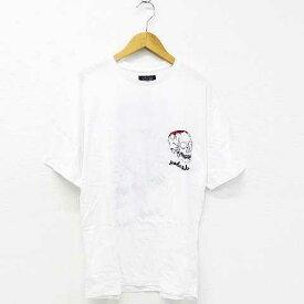 【中古】 ザラマン ZARA MAN Tシャツ トップス 半袖 スカル 英字 刺繍 コットン 丸首 白 黒 赤 38 メンズ 【ベクトル 古着】 190625