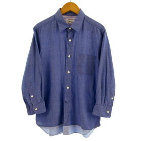 【中古】ノーリーズ Nolley's シャツ 七分袖 バイカラー リネン混 ブルー 青 S メンズ 【ベクトル 古着】 200509 ベクトルプレミアム店