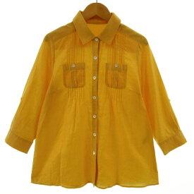【中古】ノーリーズ Nolley's シャツ 七分袖 ロールアップ リネン混 日本製 イエロー系 黄色系 山吹色系 38 レディース 【ベクトル 古着】 210617