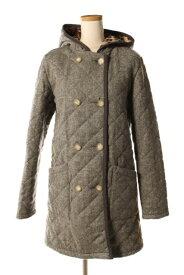 【中古】 トラディショナルウェザーウェア Traditional Weatherwear ERITH コート キルティング フード 裏レオパード ウール 32 グレー /sh0420 レディース 【ベクトル 古着】 190420
