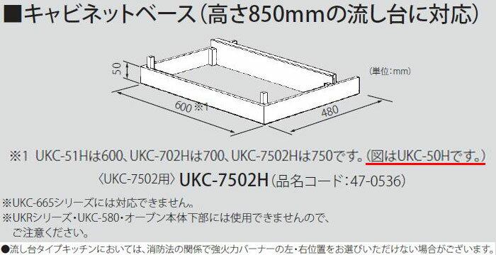 リンナイ キャビネットベース UKC-7502用 UKC-7502H