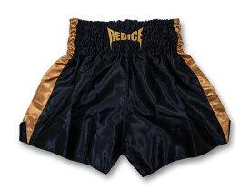 ムエタイ パンツ REDICE 黒 ゴールドライン キックボクシング 格闘技 ファイトウェア サテン生地 SS/S/M/L/XL ボクシング ムエタイトランクス 子供用 大人用