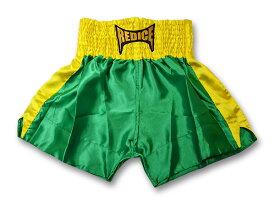 ムエタイパンツ REDICE 緑 黄ライン キックボクシング 格闘技 ファイトウェア サテン生地 SS/S/M/L/XL ボクシング ムエタイトランクス 子供用 大人用