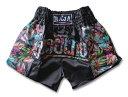 ムエタイパンツ 黒 RAJA トロピカル キックボクシング ファイトウェア サテン生地 S/M/L ボクシング ムエタイトランク…