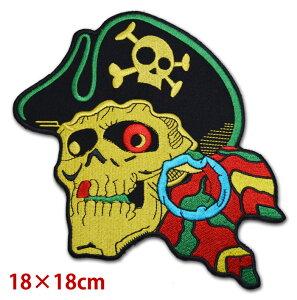 【送料無料】ワッペン パイレーツ スカル 海賊 ドクロ 骸骨 バッジ エンブレム パッチ アップリケ