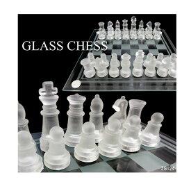 ガラス製チェスセット クリア&フロスト